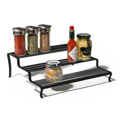 Spectrum Diversified Designs - Tiered Spice Shelf Organizer - Ashley, Black - Neatly organize spices and other small jars with our Ashley Tiered Shelf Organizer. Three-tiers, made of sturdy steel, with a black finish.