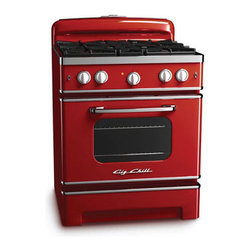 Big Chill - Modern Ovens - The Big Chill Cherry Red Stove has the retro style you want, and the modern performance you need. The look of the retro red stove may be straight out of the 1950s, but its amenities are all modern. Even convection cooking, a ceramic infrared broiler that reaches 1850 degrees, and precision-controlled burner knobs let you cook like a pro. The cherry red stove brings your kitchen the retro style of the 1950s, and the modern cooking performance of today. It really is a Modern Made Classic.