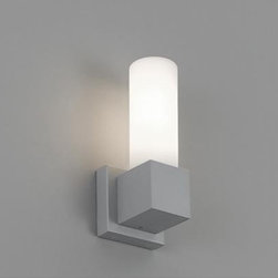 Artemide - ARTEMIDE DUPLA OUTDOOR WALL LAMP \ SCONCE - The Dupla outdoor wall lamp by Rezek Artemide is a wall mounted luminaire for diffused fluorescent lighting suitable for applications in outdoor wet locations. The body is in die-cast aluminum with matte grey powder coated finish. The diffuser is in etched white handblown glass.