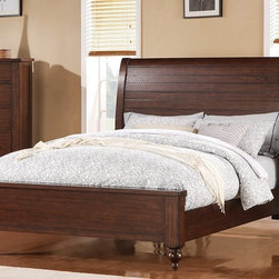 Riverside Furniture - Castlewood Sleigh Bed (Queen) - Choose Size: QueenIncludes headboard, footboard and rails. Includes wood support slats for bedding and wood support leg with a built-in leveler attached to each slat. Constructed of Pine hardwood solid, and Mindi veneer. Finish: Warm Tobacco. Distress Level: Heavy. Assembly Required. Queen: 64.5 in. W x 93.25 in. D x 56 in. H ( 146 lbs. ). King: 80.5 in. W x 93.25 in. D x 56 in. H ( 174 lbs. )California King: 80.5 in. W x 97.25 in. D x 56 in. H ( 178 lbs. )