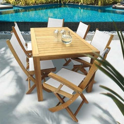 "Fifthroom - 63"" Teak Comfort Table w/ 6 Sailmate Chairs -"