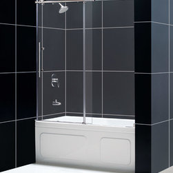 """Dreamline - Enigma-X 56 to 59"""" Frameless Sliding Tub Door, Clear 3/8"""" Glass Door - The Enigma-X sliding tub door is the epitome of style, innovation and quality. The sleek Fully frameless design and high functioning performance deliver the look and feel of custom glass at an exceptional value."""