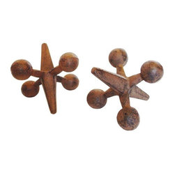 Used Vintage Cast Iron Bill Curry Jax - A Pair - Vintage pair of cast iron jax by Bill Curry.  Use them as a pair of book ends or door stops, whichever you prefer.  These both have a great patina and are in excellent shape for their age.  A must have Mid-Century classic!
