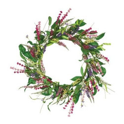 Oddity Delightful Delphinium Collection 18 in. Wreath - This Oddity Delightful Delphinium Collection 18 in. Wreath creates a sunny getaway, right in the comfort of your home. Expertly woven into a delicate circle, this wreath features vivid floral sprigs mixed with lush greenery. Inspired by summer colors, it adds a vibrant splash to your home decor. Carefully crafted, it's easy to hang.About Oddity, Inc.Oddity, Inc. was established in 1976 when Bob Averill left the company he worked for and started his own from the back of his van. After two years of selling products out of his van, Bob moved the company into an old barn near his hometown, Pottsville, PA. Once he landed business relationships with more and more suppliers to help develop new lines of product, Bob was able to bring in sales representatives and a customer service support team to field inbound calls. From there, he hired employees to pack and ship products to his customers in a timely manner. Although Bob sold the company in 1998 to focus on his love for travel and antique collecting, Oddity still remains proud to provide the same quality service and products as they have in the past. Oddity, Inc. has been a leader in the gift and home decor industry for over 35 years. Their designers travel worldwide in search of the best quality products at the most competitive prices. It's Oddity's goal to offer customers superior goods for their home decorating needs. From florals to glassware to botanicals and more, Oddity has a wide variety of unique items sure to fit anyone's taste and style.