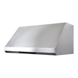 Cavaliere 42W in. Beveled Front Under Cabinet Range Hood - A beveled front design and brushed stainless steel look make the Cavaliere 42W in. Beveled Front Under Cabinet Range Hood a stylish addition to your kitchen. Designed to be as powerful as it is practical, this range hood quickly clears the air of smoke and odors and mounts under existing cabinets so you can keep your cabinet space. It's made of 19-gauge brushed stainless steel and has an ultra-quiet 360W dual chamber motor with four speeds and a handy timer. Dishwasher-safe, stainless steel baffle filters quickly clear the air. A touch sensitive keypad with LED blue lights ensures this range hood is easy to use. Two halogen lights make your kitchen work space well-lit. The heat sensitive auto speed function controls the fan speed automatically so you don't have to. Additional Information: 4 speed levels with timer functionTouch sensitive LCD keypad with blue LED lightsDishwasher-safe stainless steel baffle filtersAirflow: 1000 CFM Two 35-watt halogen lightsHeat sensitive auto speed function controls speed automaticallyAbout CavaliereCavaliere offers a complete stainless steel range hood collection. They blend superior components with the latest technologies to create range hoods that cater to your needs. Cavaliere has a special understanding of the kitchen environment, ergonomics, aesthetics, and integration within your home or workplace. They specialize in wall-mounted, island, or under cabinet range hoods that make a statement in your kitchen.