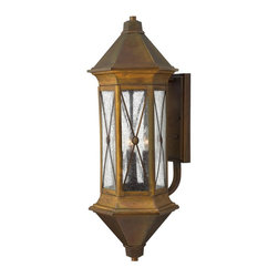 Hinkley Lighting - 2298SN Brighton Outdoor Wall Light, Sienna, Clear Seedy Glass - Traditional Outdoor Wall Light in Sienna with Clear Seedy glass from the Brighton Collection by Hinkley Lighting.