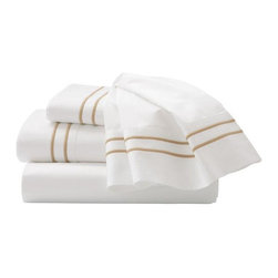 """Home Decorators Collection - Home Decorators Collection Embroidered Sheet Set - Our Embroidered Sheet Set is made of 100% cotton sateen with a 600 thread count. Two lines of embroidery accent the cuffs of the pocket-full flat sheet and pillowcases. The fitted sheet is plain and 18"""" deep with full elastic. Sleep soundly night after night and order this exquisite sheet set today. 600 thread count. Fitted sheet is 18"""" deep with a full elastic edge. Two-line embroidery on sheet and pillowcase. Twin includes fitted and flat sheet and one standard pillow. Full/Queen includes fitted and flat sheet and two standard pillows. King includes fitted and flat sheet and two king pillows."""