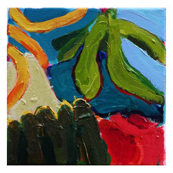 Green Leaves Yellow Stripes, Original, Painting - a small still life, abstract shapes, in rich color, revealing a few leaves, maybe a striped cloth and part of a container