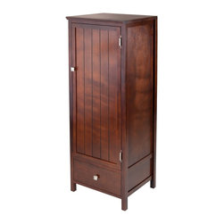 "Winsome Wood - Winsome Wood Brooke Storage X-20449 - This Brooke Cabinet / cupboard is versatile for use in bathroom for storing linens, in the office for supplies, in the living room for multimedia and in so many other ways.  Perfect for any room and decor. Elegant cupboard has one wood door opens to two large open storage with one shelf.  Construction with solid and composite wood in warm walnut finish.  Each Shelf is 14.96""W x 14.06""D.  Drawer has inside dimension of 13.86""W x 12.09""D x 5.04""H.  Create your own Storage Cabinets with other modular units in Brooke Collection.  Over all dimension s 17.35""W x 15.75""D x 47.44""H.  Assembly Required."