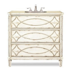 Cole + Co. Designer Series Ella Single Bathroom Vanity - If there's an art to bathroom decorating, it's in the Cole + Co. Designer Series Ella Single Bathroom Vanity. Crafted with durable hardwood, this traditional vanity boasts an artistic hand-painted motif, a pale finish, and mild distressing for a homey, lived-in look. Two working storage drawers catch spare linens and toiletries. A Cole + Co. sink - the Carlisle - is included and is available in white or biscuit shades. Includes pre-drilled sink and three faucet holes with an 8-inch spread.About Cole + Co.Cole + Co. has the expertise and knowledge to effortlessly marry functionality with style, taking the painstaking difficulty out of finding extraordinary pieces for the bathroom. Wood solids such as elm, alder and pine are combined with birch, cherry and aspen veneers for a truly custom and unique look. Currently available across the United States and Canada, Cole + Co.'s vanity units and accessories are moderately priced for the architect, home builder, designer and consumer.