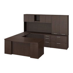 """Bush - Bush 300 Series 72"""" U-Shape Executive Bow Desk Set in Mocha Cherry - Bush - office Sets - 300S003MR - Surround yourself with stately elegance and efficiency when making your own custom configuration with the BBF Mocha Cherry 300 Series Executive 72""""W x 36""""D Bow Front U-Station Desk with 72""""H Overhead Hutch. Start with the 72""""W Executive Bow Front Desk (B/F) and spread out on its ample work surface that also offers a place for visitors to sit. One box drawer holds supplies and one file drawer accommodates letter- legal- or A4-size files. Versatile U-station setup provides plenty of workspace and additional storage. Convenient overhead storage helps keep desk area clean. offers an open shelf for books or binders and two-door concealed center section. Desktop grommets provide easy access and concealment of unsightly wires cords or cables. Back-panel board holds notes photos and more. Expand storage with a 2-drawer lateral file matched to desk height. Special interlocking drawers reduce the risk of tipping. Full-extension ball-bearing slides make it easy to reach the back of all drawers. Accommodate letter- legal or A4-size files. The credenza complements the desk and offers additional storage. Top surfaces are scratch/stain resistant. Tough edge banding resists dents dings and nicks. Mocha Cherry finish complements any office decor and matches other 300 Series pieces. Includes BBF Limited Lifetime warranty."""