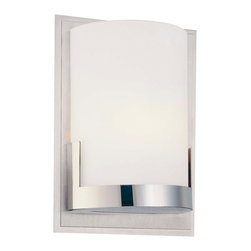 "George Kovacs - George Kovacs Convex 7"" High Wall Sconce - The Convex Collection offers a beautifully simple modern look. With a combination finish and warm etched glass this fixture will enhance hallways bedrooms baths and more. This wall sconce features a brushed aluminum with chrome finish and etched opal glass. A stunning design from George Kovacs. Brushed aluminum with chrome finish. Etched opal glass. ADA compliant. Includes one 40 watt G9 xenon bulb. 7"" high. 5"" wide. Extends 2 3/4"" from the wall.  Brushed aluminum with chrome finish.  Etched opal glass.  ADA compliant wall sconce.  From the George Kovacs lighting collection.  Includes one 40 watt G9 xenon bulb.  7"" high.  5"" wide.  Extends 2 3/4"" from the wall."