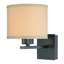 Dolan Designs - Dolan Designs 2946 1 Light Ambient Light Wall Sconce from the Tecido Collection - Dolan Designs 2946 Tecido 1 Light Ambient Light Wall SconceWith a retro-modern style reminiscent of the 1960's, this 1 Light Wall Sconce features a simple square arm and timeless drum shaped Beige Fabric Shade. This unique piece will complement any room with its retro style.Tecido is inspired by the Chic styles of the 1960's and will bring a retro flair to your home with its simple square arms and timeless drum shaped Beige Fabric Shades. Dolan Designs 2946 Features: