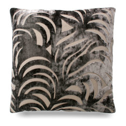 "Big Leaf Pillow - Prune - 24"" - Luxe velvet in a luscious leaf pattern is ultra soft to the touch and inspires a sense of Zen to any interior you choose to place it in. Though the pattern is a large and bold one, the prune coloring make the pillow subtle and lovely."