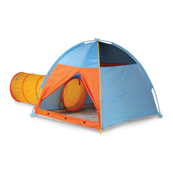 Pacific Play Tents - Pacific Play Tents Hide Me Tent & Tunnel Combo - Blue - 20614 - Shop for Tents and Playhouses from Hayneedle.com! Whether they're playing house having an adventure in the great outdoors or lost in space your kids will love the Pacific Play Tents Hide Me Tent & Tunnel Combo - Blue. They'll spend hours crawling through the tunnel creating amazing places to visit and having a good time by themselves or with friends in this colorful tent. Mesh panels and a T-style zippered door with tie-backs allows for plenty of ventilation and easy entry and exit. Easy to clean with mild soap and water this tent also has a durable and waterproof polyethylene floor. Made from 70 denier 190T polyester taffeta the tent and poles have a P.U. coating and are flame retardant. Color-coded poles make this tent easy to assemble while the included carry bag makes it easy to store or bring along on trips. The tunnel also folds back for easy storage. Additional Features Durable waterproof polyethylene floor Clean with a damp cloth and mild soap Sturdy color-coded poles for easy assembly Meets CPAI-84 and ASTM F963 safety standards Tunnel folds flat for storage and travel Carry bag includedAbout Pacific Play TentsPacific Play Tents is a privately owned company dedicated to providing creative high-quality and imaginative products for indoor and outdoor use. Each item is painstakingly tested to ensure long lasting fun and structures designed to last. The company's devotion to this is consistently validated through more and more awards. They have designed their tents and tunnels to be interchangeable. The company constantly strives to make better more imaginatively designed products for you to enjoy. This dedication combined with their unparalleled customer service and focus on quality has elevated them to be recognized as the best of the best.