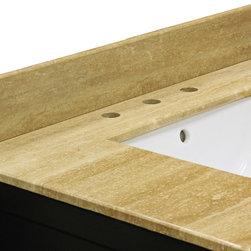 Bellaterra Home - Backsplash-travertine - Backsplash for 62 in. double sink wood vanity. SKU 603316-DM-TR
