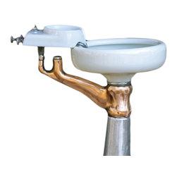 Consigned Mixed Metal/ Glass Dentist Sink Brass Copper Steel Steampunk Bath Sink - 1930's Mixed Metal & Glass Dentist Sink Brass, Copper, Steel Steampunk Bath Sink