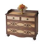 Butler Specialty - Butler Drawer Chest - This striking four drawer chest features rafia inlays on the top, drawer fronts and sides with attractive wood overlays. Quality crafted with hardwood frames and maple veneers over wood products. The dovetailed drawers are beautifully finished, and are corner blocked with wood glides.