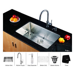 Kraus - Kraus 30 inch Undermount Single Bowl Stainless Steel Kitchen Sink with Chrome Ki - *Add an elegant touch to your kitchen with unique Kraus kitchen combo