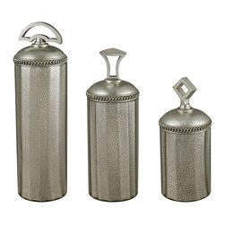Sterling Industries - Halten Antique Mercury Glass Jars, Set of 3 - Shimmering accessories are back in vogue. This set of halten antique mercury glass jars by Sterling provide a warm luster, sparkle, interest and refreshing contrast in any room. Grouped together they can help fill an empty corner/Soften harsh angles. These jars have an aged quality but with an updated look and will look gorgeous over a mantel, on a bookshelf, in the bathroom or on a table. Sold in a set of 3, the jars are all 6 inches in diameter and vary in height�the large is 20 inches tall, medium 18 inches tall,/Small 15 inches tall.