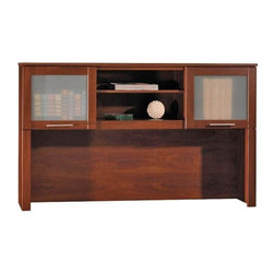 Bush - 60 in. Desk Hutch in Hansen Cherry - Somerset - Enhance your office  with this elegant Hutch from the Somerset Collection in a Hansen Cherry finish.  This beauty is designed with open storage for books or binders ,while the left and right storage areas are attractively concealed with frosted glass. * Open compartments for books or binders. Frosted glass doors attractively conceal left and right storage areas. 59.094 in. W x 13.701 in. D x 35.709 in. H