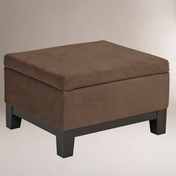 World Market - Walnut Baldwin Easy Storage Ottoman - With sleek, clean lines complemented by ultra-soft, easy-care fabric, our handsome Walnut Baldwin Easy Storage Ottoman provides ultimate comfort, style, and functionality. As the center of your den or an accent in the living room, this must-have ottoman offers a place to kick up your feet and enough storage to tuck away blankets or books.