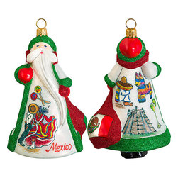 Frontgate - Glitterazzi International Mexico Santa Ornament - Each ornament takes up to 7 days to produce. Constructed of 100% European-made glass. Arrives in a handsome black lacquered box for gifting and safekeeping. Hanger is included for easy display. Our collectible Glitterazzi International Ornament from Joy to the World was created with the utmost attention to quality and detail. The finest artisans in Poland individually mouth blow and hand paint each ornament, achieving new levels of innovation and artistic integrity in their designs. Using only traditional old world production methods and materials sourced from European countries, they ensure that each ornament is an impressive work of art that will be treasured for generations. . . . . Made in Poland.