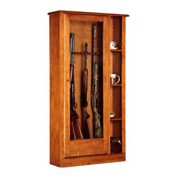 American Furniture Classics - 10 Gun Locking Cabinet w Tempered Glass Door - Rustic inspiration gives this gun cabinet a rightful spot in your surroundings. Made with top quality wood and veneers, it has a large tempered glass door flanked by 4 slender curio shelves. Cabinet is fully lockable for security and boasts a soft, felt-lined interior. Solid wood and wood veneers. Three adjustable shelves. Displays most 52 in. scoped rifles. Tempered glass. Felt lined barrel rest and butt plate. Displays most double barreled shotguns. Fully locking cabinetry. Storage area behind door. Classic furniture hardware. Floor levelers. 33.5 in. W x 10.75 in. D x 62.5 in. H