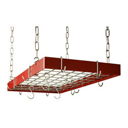 Rogar - Grid Pot Rack in Red with Chrome Hooks - Lids can be placed on top of grid. Includes 8 regular and 4 grid hooks. Red w Chrome accessories. 30 in. L x 15 in. W x 2 in. H (12 lbs.)