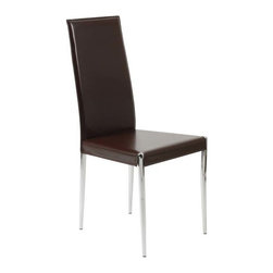 Eurostyle - Eurostyle Rosina Leather Side Chair w/ Chromed Steel Frame in Brown [Set of 4] - Leather Side Chair w/ Chromed Steel Frame in Brown belongs to Rosina Collection by Eurostyle If you're dining venue presents an air of good taste, this is your chair. Seat and back in white or brown leather and a shape as classic as your Steak au Poivre. Bon app�tit. Side Chair (4)
