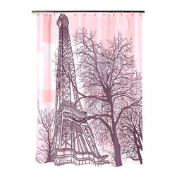 """""""Tour Eiffel"""" Fabric Shower Curtain - """"Tour Eiffel"""" Heavier Weight Fabric shower curtain, 100% polyester, size 70""""x72"""". Bring the romance of Paris to your home with our """"Tour Eiffel"""" Fabric Shower Curtain. This beautiful depiction of the Eiffel Tower is set amidst a pink sunset backdrop. Made to fit standard-sized bathtubs or showers (curtain measuring 70'' w x 72'' l), """"Tour Eiffel""""  is made with a premium quality polyester fabric, giving it added weight and durability. This curtain is both machine-washable and water repellant (no liner required). Machine wash in warm water, tumble dry, low, light iron as needed"""