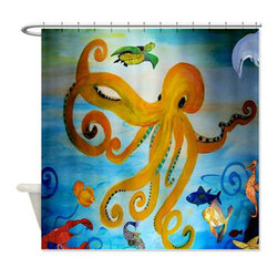 usa - Yellow Octopus Shower Curtain - Beautiful shower curtains created from my original art work. Each curtain is made of a thick water resistant polyester fabric. The permanently applied art work appears on the front side with the inside being white. 12 button holes for easy hanging, machine washable and most importantly made in the USA. Shower rod and rings not included. Size is a standard 70''x70''