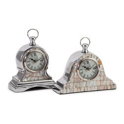 Aluminum Mother of Pearl Clock - Set of 2 - *This set of two table clocks are the perfect mix of milky mother of pearl shell and chrome finish to add an elegant sophistication to any vanity, occasional or bedside table.