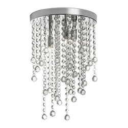 Dainolite - Dainolite 3LT Crystal Semi Flush Fixture - 3 Light Crystal Semi Flush Fixture, Polished Chrome