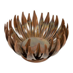 Safavieh - Small Lotus Pillar Candle Holder ACS1502A - The organic shape of the Small Lotus pillar candleholder references the ethereal, delicate blooming of the Lotus flower. Lovely, slender blossoms, crafted from a burnished iron, radiate from the candleholder cup for a enchanting, shadowy effect.