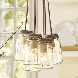 Exeter 5-Jar Pendant - This vintage-inspired jar pendant light fixture is gorgeous!
