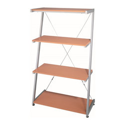 Lite Source - Lite Source Morse 4-Tier Contemporary Shelf X-0065-HSL - This dynamic shelving unit comes in colorful Beech wood or with sandblasted tempered glass panels with a silver finished frame.