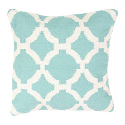 """Jaipur Rugs - Blue/Ivory color cotton cad03 pillow poly fill pillow 18""""X18"""" - Hand woven from 100% cotton the Cadiz pillow collection offers a range of open geometrics in bold color combinations. The collection coordinates with Jaipur Maroc and Urban bungalow flat weave rugs."""