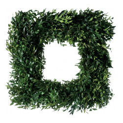 Magnolia Company - Fresh Square Boxwood Wreath, 24x24 - A best-seller every season! A charming and elegant wreath inspired by simplicity. Another delight from the mountains with a designer's twist. Turn it a little and it's a diamond! We also have matching garlands!