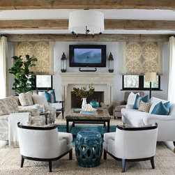 Living Room Project - The Blue ceramic side table from Mix Furniture brings the beachy outdoor feel into this coastal living space. (Item# LA1070L)