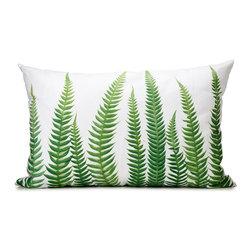 Modern Cotton Exclusive Pillow - Printed with the botanical art of photographer Barry Rosenthal, these oversized cotton canvas pillows showcase the simple beauty of nature with the familiar forms of bright green ferns. The lush images are enlarged and accentuated on their broad white canvasses, making boldly organic statements for a living room, family room or bedroom that will harmonize with many interior palettes, from rustic to eclectic. Punctuated by the artist's signature, the botanical image continues just past the pillow's front panel, adding to the powerful spatial statement of the design. Use one of each to lend a meadow-to-forest look to your room, or two or more of the same image in series for a focal-point frieze of ferns. Made in Hendersonville, North Carolina.
