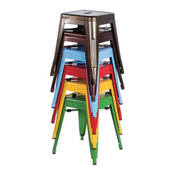 Chintaly - Chintaly Tremont Galvanized Steel Dining Side Chairs - Set of 4 - CTY1337 - Shop for Chairs and Sofas from Hayneedle.com! Get that Euro bistro look in your home with the colorful Chintaly Tremont Galvanized Steel Dining Side Chairs - Set of 4. This set of four dining side chairs has a backless design for a classic bistro look in your choice of vibrant color. The chairs are made of galvanized steel for lightweight durability and have rubber stops to protect floors. The handle in the seat adds to the charm.About Chintaly ImportsBased in Farmingdale New York Chintaly Imports has been supplying the furniture industry with quality products since 1997. From its humble beginning with a small assortment of casual dining tables and chairs Chintaly Imports has grown to become a full-range supplier of curios computer desks accent pieces occasional table barstools pub sets upholstery groups and bedroom sets. This assortment of products includes many high-styled contemporary and traditionally-styled items. Chintaly Imports takes pride in the fact that many of its products offer the innovative look style and quality which are offered with other suppliers at much higher prices. Currently Chintaly Imports products appeal to a broad customer base which encompasses many single store operations along with numerous top 100 dealers. Chintaly Imports showrooms are located in High Point North Carolina and Las Vegas Nevada.
