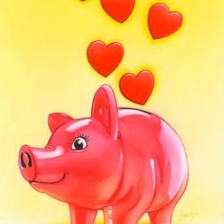 Wallmonkeys Wall Decals - A Piggy Bank for Saving Love Wall Mural - 30 Inches H - Easy to apply - simply peel and stick!