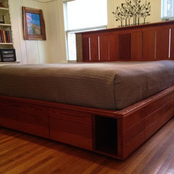 Captain's Bed - King size platform bed with 8 drawers and 2 cubbies for storage underneath. Made from reincarnated California redwood and oak barn wood. The over-sized drawers are equipped with Blum undermount soft-close drawer slides.