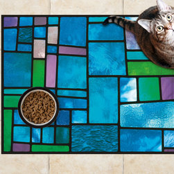 Sniff it Out Pet Mats - Stain Glass Pet Food Mat, Large - Premium-quality clear vinyl mats uniquely designed to resemble beautiful art painted directly onto your floor. The smoothness of the vinyl allows for easy cleanup and lays perfectly flat. Sniff It Out Pet Mats make great gifts and will be a conversation piece that your friends and family won't stop talking about. Made in the USA.