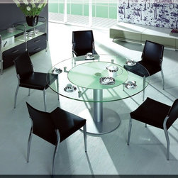 CT50 Modern Glass Round Dining Table - Frosted glass in the middle