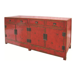 Marco Polo Imports - Tang Sideboard - Representing the best of Chinese antique reproductions, the Tang sideboard preserves venerable patterns and exotic frames that have been adapted into multi-functional accent items for today's household needs. Hand-painted and distressed, each of these designs is constructed using woods reclaimed from demolished buildings, married with traditional Chinese joinery. Crackled painted finishes and layers of lacquer impart an authentically aged feel. Available in Antique Red finish.