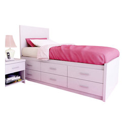 Sonax - Sonax Willow Captain's Storage Bed with Panel Headboard in Frost White - Sonax - Kids Beds - X111LWBXX1401 - Stay organized by capitalizing on the space under your bed with the Sonax Frost White Captain's Bed with storage drawers. The Twin size offers six drawers on one side allowing you to position this bed against a wall or in the bedroom corner without losing any potential storage. Upgrade to the Full size an additional six drawers on the other side. Each of the drawers easily opens and slide on whisper-quiet high-quality ball bearing rollers. No box spring is required so you can place your mattress directly on the sturdy wood slats. Rest comfortably on this bed proudly made in North America by Sonax.
