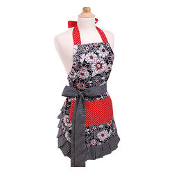 None - Scarlet Blossom Women's Original Flirty Apron - The Scarlet Blossom apron is fashionable and durable. Magnolia and aster flowers paired with stripes and polka dots keep this apron trendy and contemporary. You can't go wrong with the colors red,white and black as this combo can take you year round.