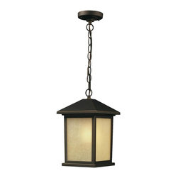One Light Oil Rubbed Bronze Tinted Seedy Glass Hanging Lantern - The solid, timeless styling of this medium outdoor chain hung fixture is versatile, suiting both traditional and modern styles.  Warm tinted seedy glass panels are paired with a finish of oil rubbed bronze, to create a very inviting look. Made of cast aluminum, this fixture is made to endure nature, regardless of the season